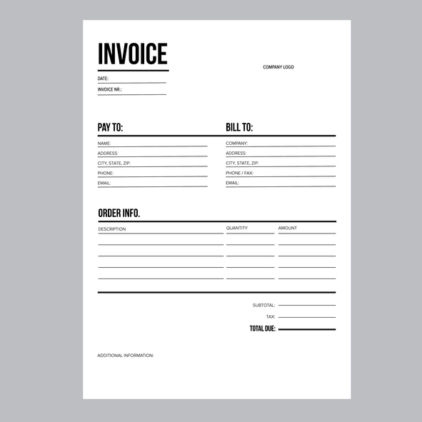 Invoice / business template - A4 European standard paper
