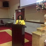 Latha Sukumar, Executive Director at International Yoga Day on June 21, 2017, at the Vedic Cultural Centre in Markham.