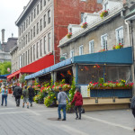 Montreal, Canada - June 11, 2016: Popular Place Jacques Cartier street in the Old Port. People can be seen around.