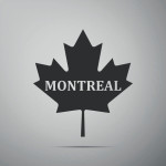Canadian maple leaf with city name Montreal icon isolated on grey background. Flat design. Vector Illustration