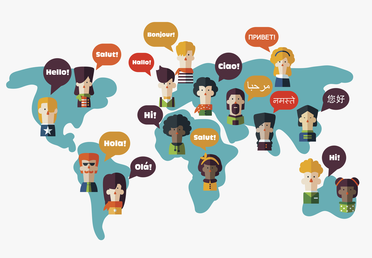 People avatars on World map. Speech bubbles in different languages